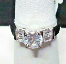 Stones Ring Size 7.5 Nib Simulated Diamond Engagement Round & Baguette