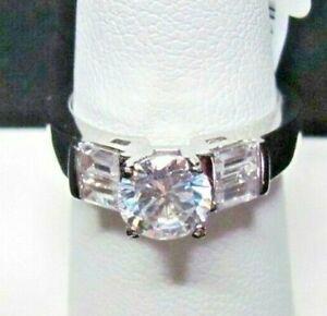 SIMULATED DIAMOND ENGAGEMENT ROUND & BAGUETTE STONES RING SIZE 7.5 NIB