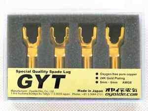 Oyaide GYT Audio Grade Spade Terminals 24K Gold-Plated Y Lug 4 pcs/Set Brand New