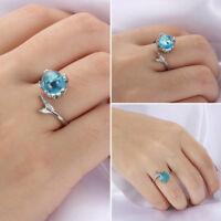 schmuck silber - farbe blue crystal meerjungfrau blase ringe verstellbare größe
