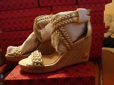 "NIB TORY BURCH ""BAILEY"" AnkleStrap WEDGE Espadrille SPARK GOLD  SZ.6.5  $328"