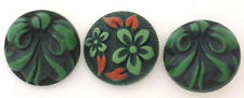 3 Vintage Large Celluloid Buttons 2 with Raised Green Bows, 1 Red Leaves Flowers