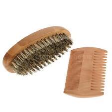 Men's Beard Brush & Comb Kit Mustache Shaving Brush Facial Hair Brush Set I1H8