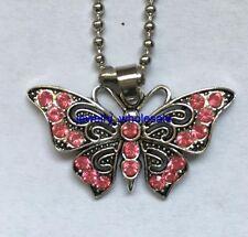 1pcs pink Rhinestone Butterfly Tibetan Silver Charm Pendant Necklace