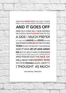 Arctic Monkeys - Mardy Bum - Song Lyric Art Poster - A4 Size