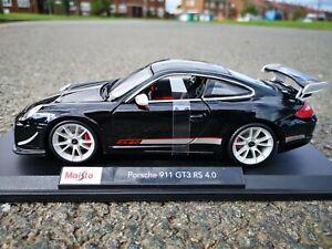 RARE Porsche GT3 RS 4.0 Black Diecast Model Car Maisto 1:18 Scale New SEE