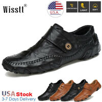 Men's Genuine Oxfords Leather Formal Casual Dress Shoes Slip on Driving Loafers