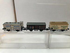 MINITRIX N 3 wagons cargos : 13434, 13646 et 13645 TBE