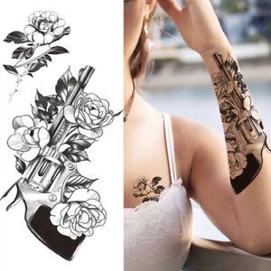 Tattoo Sticker Black Flower Arm Body Fashion Women Girl Temporary  Art Fake 2 pc