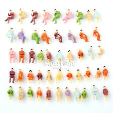 50pcs Painted Model Train Seated People Passengers Figures HO TT Scale 1:100