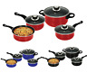 7PC COOKWARE SET PAN POT CARBON STEEL NON STICK SAUCEPAN GLASS LID KITCHEN FRY