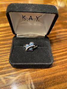 Blue/White Diamond Heart Ring 1/4 ct tw Sterling Silver Size 6.25