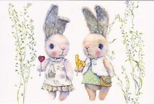 RARE 2 baby hares with lollipops by Olga Moskaleva Russian modern postcard