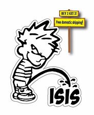 Calvin Piss on ISIS Pissing Hate Terrorism Decal/Sticker Islamic State