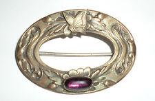 Antique Vintage Victorian Nouveau Butterfly Bug Sash Pin Amethyst Glass Brass