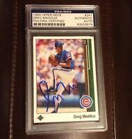 GREG MADDUX 1989 Upper Deck Signed Autographed Baseball Card PSA/DNA Cubs Braves