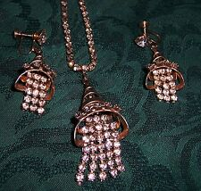 Vintage silvertone  RHINESTONE NECKLACE EARRING SET screwback clip BELL steel