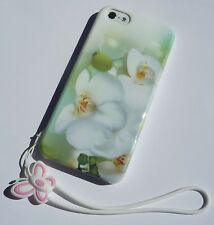 White Orchid Hard Case Cover for iPhone 5 5s with Cartoon Lanyard Retail Box