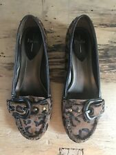 NEW Linea Paolo Leopard-Print Calf Hair Leather Flats Shoes Size 7 NORDSTROM