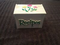 Vintage 1985 Hand Painted Wooden Recipe Box Made For FTD USA