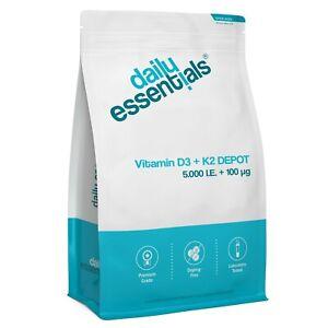 250-1000 Tabletten - Vitamin D3 5000 IE + Vitamin K2 100µg MK7 Depot Hochdosiert