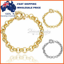 9K GOLD FILLED SAFE BOLT RINGS CHAIN HEART WOMENS SOLID BELCHER BRACELET BANGLE