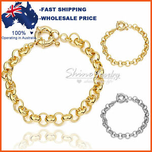 9K GOLD FILLED SAFE BOLT RINGS CHAIN HEART WOMENS SOLID BELCHER BRACELET BANGLE