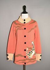 STORYBOOK KNITS $129 Tiger Sighting Coral Button Front Cardigan Small