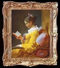 Victorian Lady In Yellow Reading Miniature Dollhouse Picture