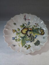 ANCIENNE COUPE PLAT EN FAIENCE A DECOR DE FRUITS FLEURS INSECTES MONOGRAMME AM