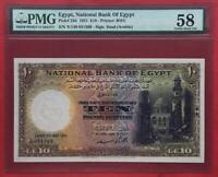EGYPT , 10 POUNDS 1951 SIGN. SAAD - PMG 58 , RARE