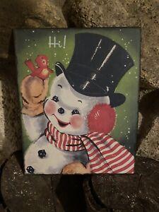 Vintage SnowMan Sign,Christmas Wall Decor, Vintage Christmas Decorations