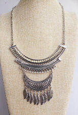 Bohemian Festival Feather Tassel Necklace Handmade Boho Indian Vintage Style