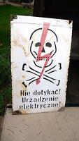 Plaque Tôle émaillée Vintage Signalétique Usine Electricité Danger de Mort 1950