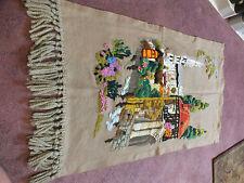 "Collectible Needlepoint Wall Hanger Ecru Yarn Embroidery Fringe VINTAGE 38x22"""