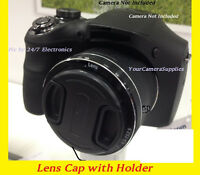 FRONT SNAP-ON LENS CAP for CAMERA CANON SX30 SX40 SX10 SX20 SX1 IS HS + HOLDER
