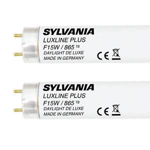 Sylvania T8 Fluorescent Tube 15 Watt 18 inch Daylight White 15w 865 26mm 2 Pack