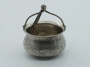 Russian Imperial Sterling Silver Tea Strainer with Handle Engraved Bucket Shape