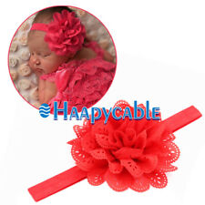 2Pcs Kids Girl Baby Toddler Infant Cute Headband Hair Bow Band Lace Red Flower