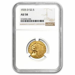 1925-D $2.50 Indian Gold Quarter Eagle AU-58 NGC - SKU#219908