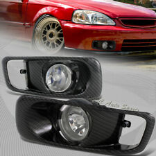 For 1999-2000 Honda Civic Clear Lens Fog Driving Lights Lamp W/Carbon Look Cover