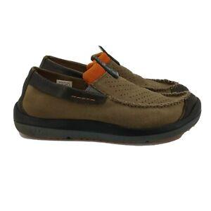 Crocs Mens Linden Slip on Loafers Size 8.5 Khaki Brown Orange Suede Casual Shoes