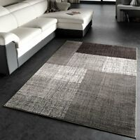 Grey Brown Rug Woven Low Pile Carpet Living Room Bedroom Small Extra Large NEW