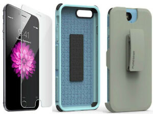 PureGear Blue Dualtek Case Belt Clip Tempered Glass for iPhone 7 Plus, 8 Plus