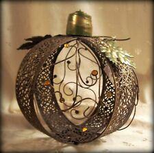 """Nwt Gold Metal Filigree Pumpkin w/Olive Leaves & Jeweled Curls 8"""" T x 8.25"""" D"""