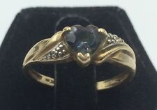 10k Yellow Gold Heart Shaped Created Alexandrite Ring Size 8