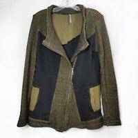 XCVI Knit Moto Jacket Long Sleeve Green Black Full Zip Lagen Look Womens Sz S