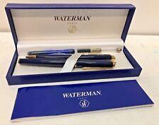Waterman Fountain Pen & Ballpoint Pen w/ Box Blue & Golden Color w/ Empty Refill