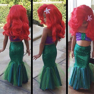 Mermaid Girls Costume Kids Dress Tail Fancy Swimwear Ariel Child Little Swimsuit