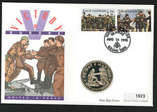 1995 Victory in Europe Coin FDC - 5 Crowns Coin & Grand Turk Pmk